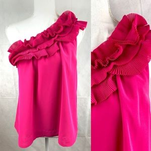 H&M Pink Fuchsia Ruffle One Shoulder Sexy Top NEW
